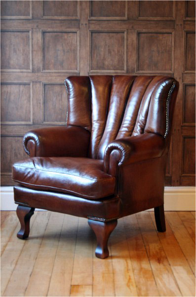 fauteuil anglais blake en cuir de vachette longfield 1880. Black Bedroom Furniture Sets. Home Design Ideas