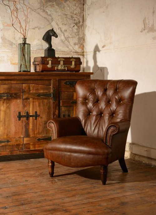 fauteuil anglais calvay en cuir de vachette longfield 1880. Black Bedroom Furniture Sets. Home Design Ideas