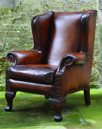 fauteuil anglais chaucer en cuir de vachette longfield 1880. Black Bedroom Furniture Sets. Home Design Ideas