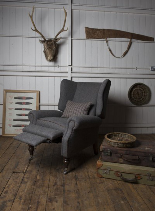 fauteuil anglais relax laudale en tissus tweed longfield 1880. Black Bedroom Furniture Sets. Home Design Ideas