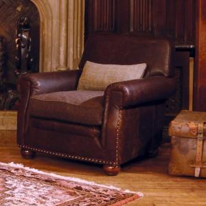Fauteuil Anglais Stornoway en cuir et tissus