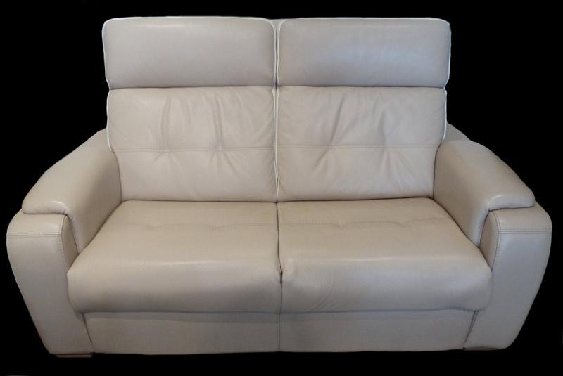 Canapé 2 places fixe Stream en cuir de vachette