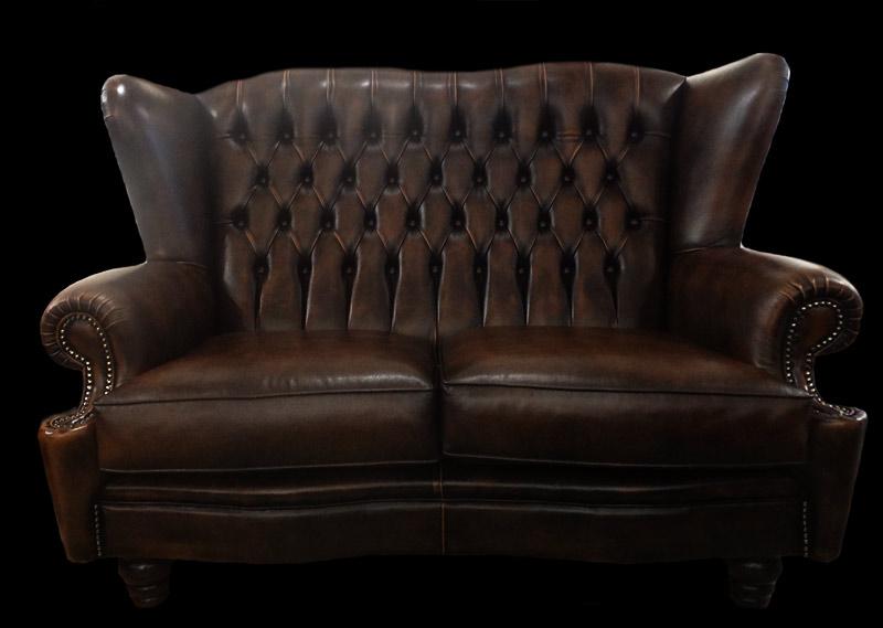 Canapé 2 places Kent en cuir de vachette coloris marron patiné