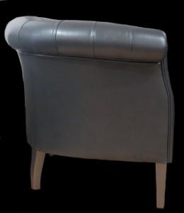 Petit fauteuil Chesterfield cuir argent