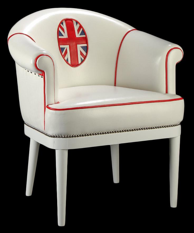 Fauteuil club Kate en cuir de basane pleine fleur coloris blanc avec le drapeau de l'Union Jack