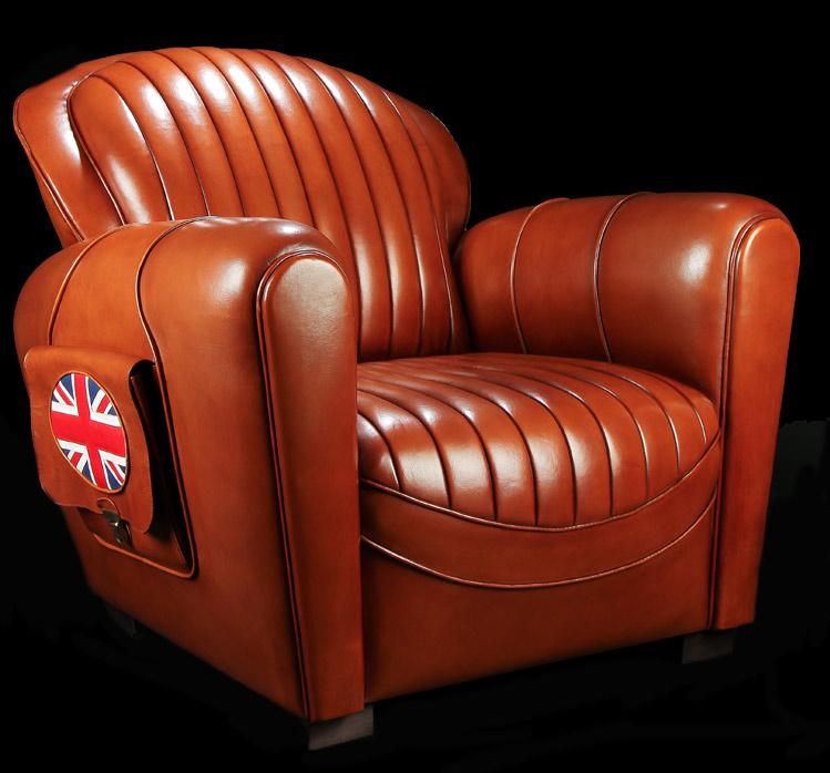 Fauteuil club Bentley en cuir de basane