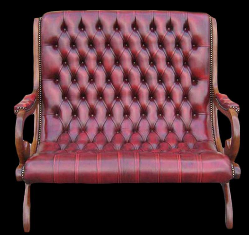 Canapé 2 places Victoria Old England en cuir de vachette coloris bordeaux patiné