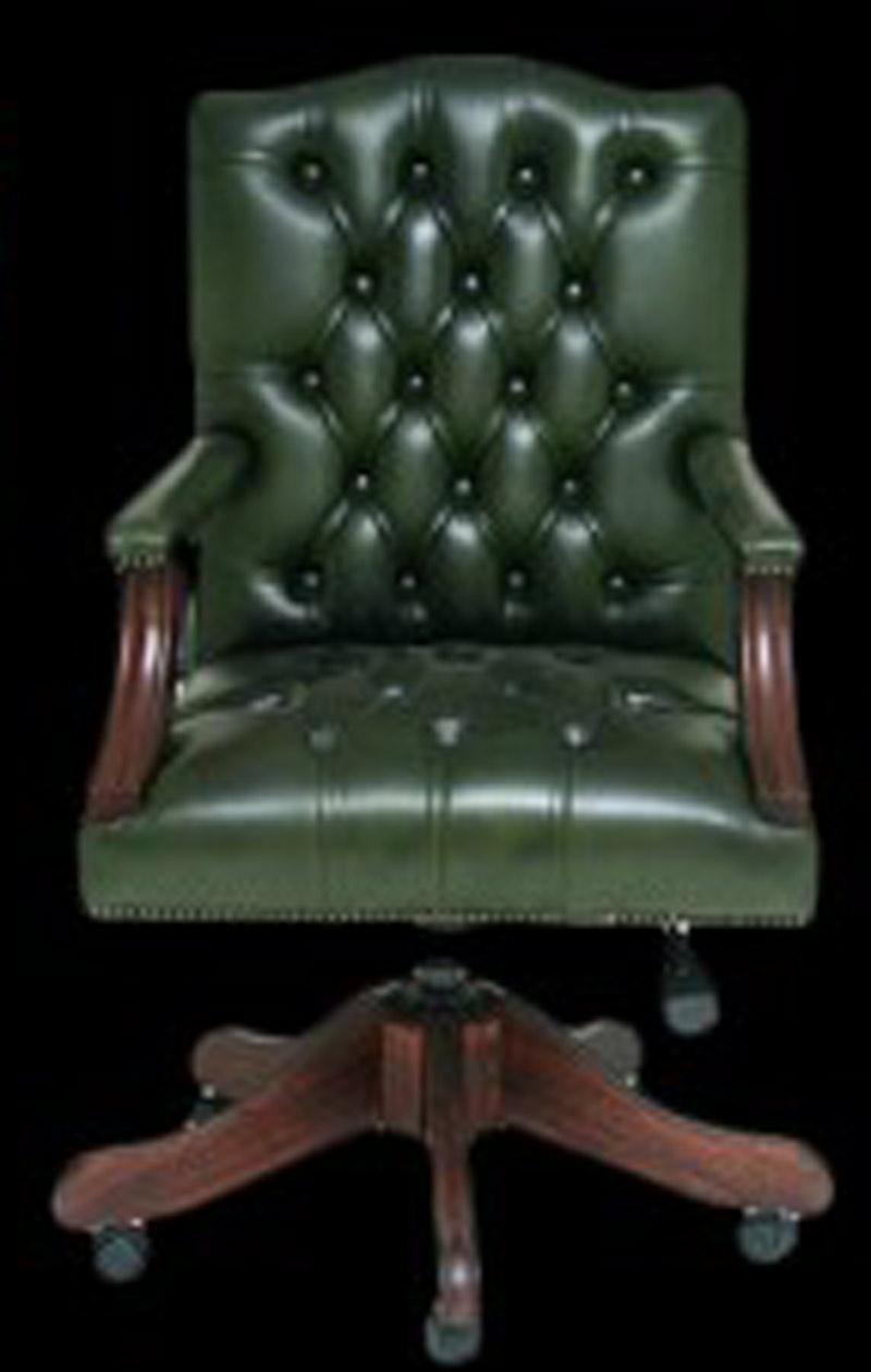 Fauteuil de bureau Gainsborough en cuir de vachette coloris vert Anglais